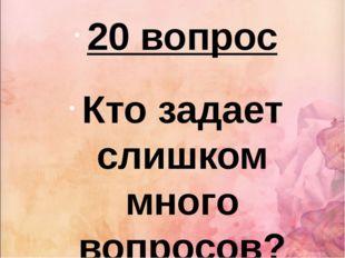 20 вопрос Кто задает слишком много вопросов?