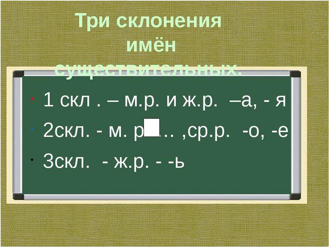 Три склонения имён существительных. 1 скл . – м.р. и ж.р. –а, - я 2скл. - м....