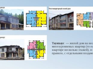 Таунхаус— жилой дом на несколько многоуровневых квартир (то есть в квартире