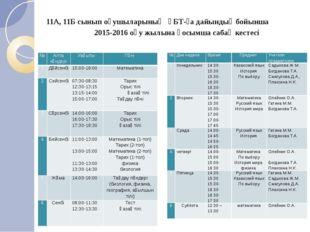 11А, 11Б сынып оқушыларының ҰБТ-ға дайындық бойынша 2015-2016 оқу жылына қосы