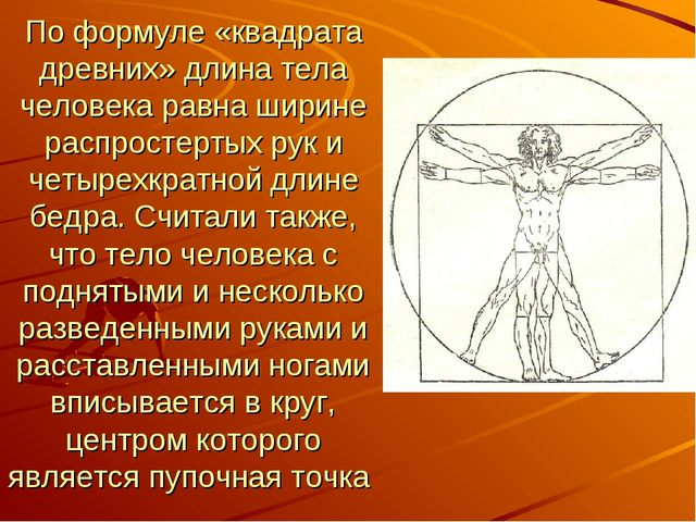 По формуле «квадрата древних» длина тела человека равна ширине распростертых...