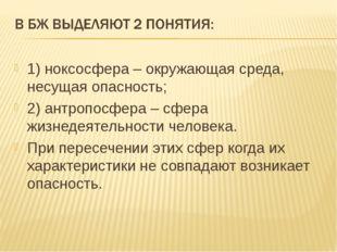 1) ноксосфера – окружающая среда, несущая опасность; 2) антропосфера – сфера