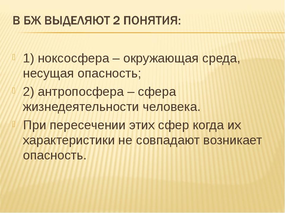 1) ноксосфера – окружающая среда, несущая опасность; 2) антропосфера – сфера...