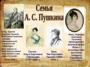 Отец, Сергей Львович Пушкин, небогатый помещик, человек образованный, хорошо