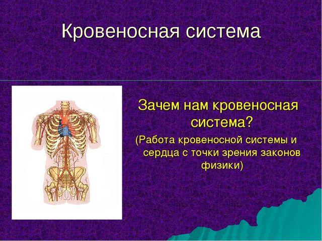 Зачем нам кровеносная система? (Работа кровеносной системы и сердца с точки...