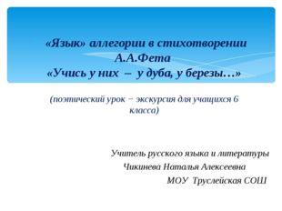 «Язык» аллегории в стихотворении А.А.Фета «Учись у них – у дуба, у березы…»