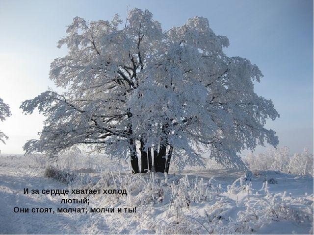 И за сердце хватает холод лютый; Они стоят, молчат; молчи и ты!