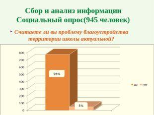 Сбор и анализ информации Социальный опрос(945 человек) Считаете ли вы проблем