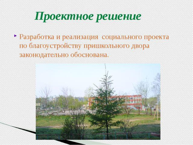 Проектное решение Разработка и реализация социального проекта по благоустройс...