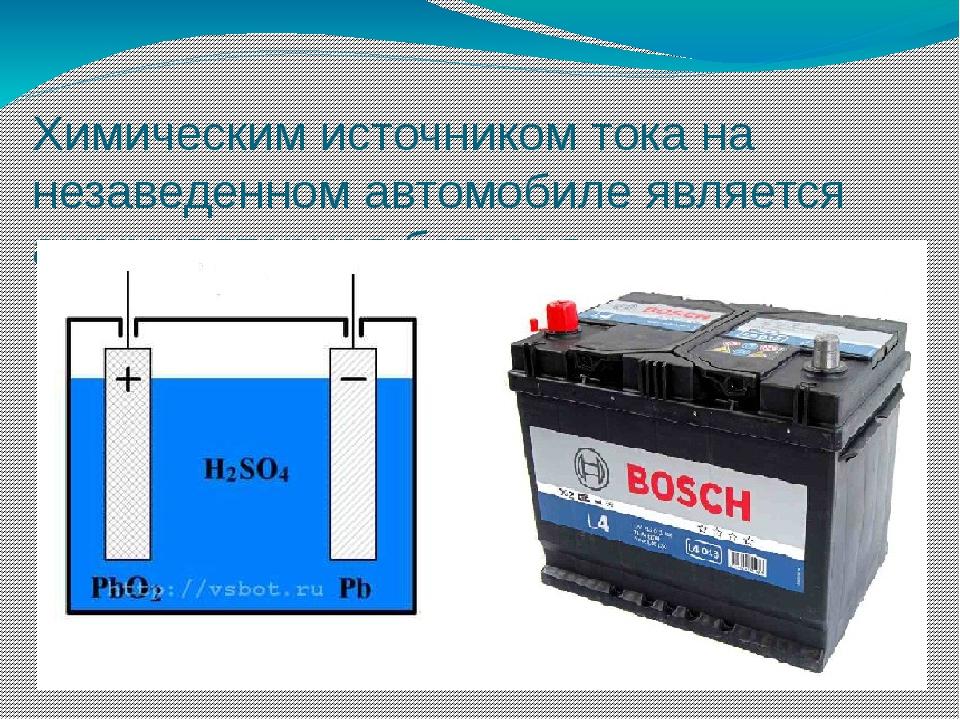 Химическим источником тока на незаведенном автомобиле является аккумуляторная...