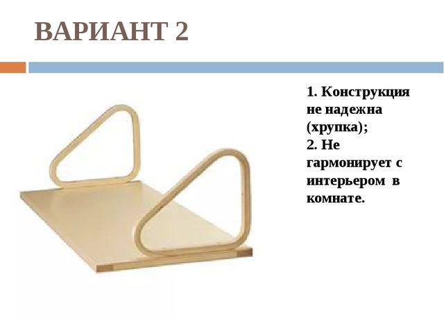 ВАРИАНТ 2 1. Конструкция не надежна (хрупка); 2. Не гармонирует с интерьером...