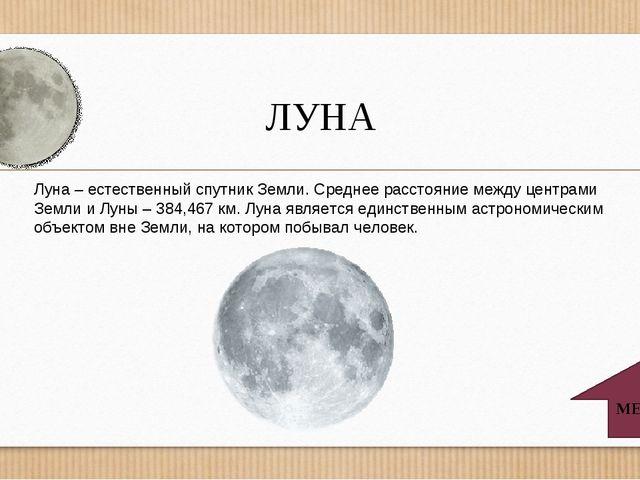 ЛУНА МЕНЮ Луна – естественный спутник Земли. Среднее расстояние между центрам...