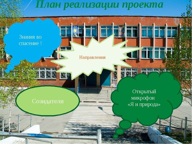 План реализации проекта Открытый микрофон «Я и природа» Направления Знания во...
