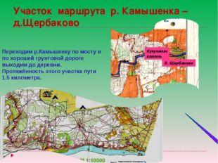 Участок маршрута р. Камышенка –д.Щербаково Кукушкин камень д. Щербаково Перех