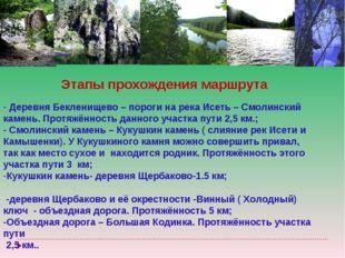 Этапы прохождения маршрута Деревня Бекленищево – пороги на река Исеть – Смоли