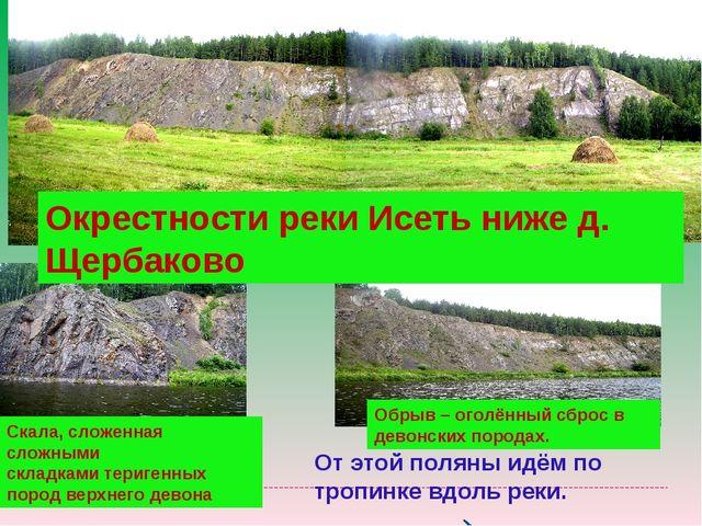 Окрестности реки Исеть ниже д. Щербаково Скала, сложенная сложными складками...