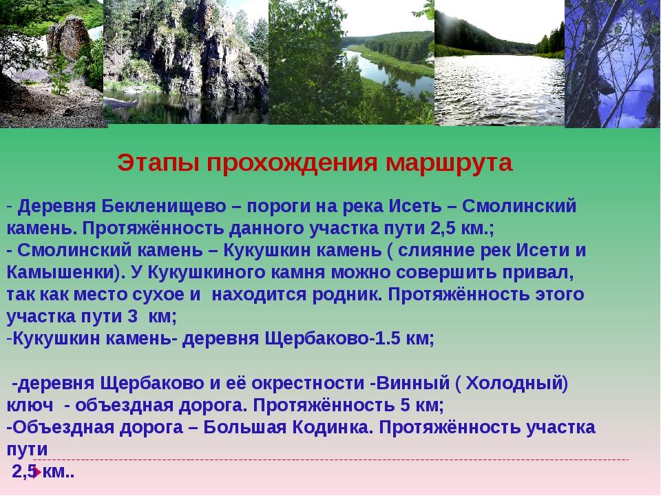Этапы прохождения маршрута Деревня Бекленищево – пороги на река Исеть – Смоли...