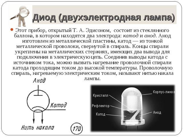 Диод (двухэлектродная лампа) Этот прибор, открытый Т. А. Эдисоном, состоит и...