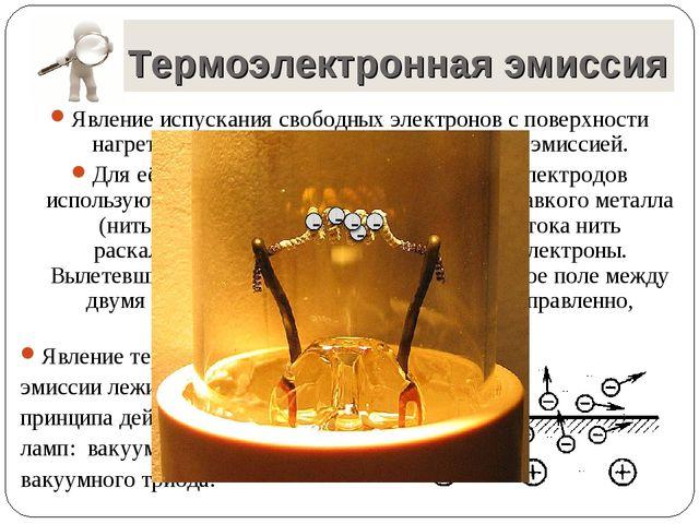 Явление испускания свободных электронов с поверхности нагретых тел называется...
