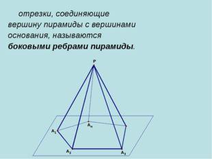 отрезки, соединяющие вершину пирамиды с вершинами основания, называются боко