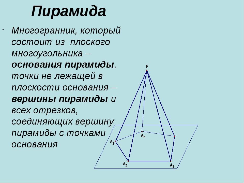 Пирамида Многогранник, который состоит из плоского многоугольника –основания...