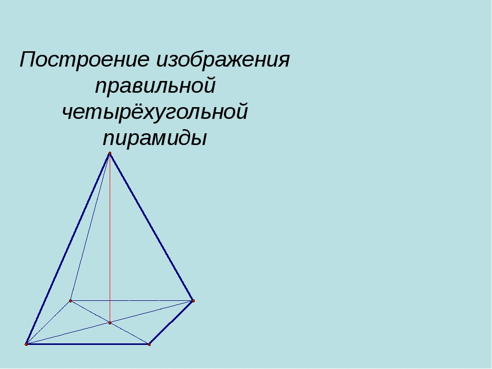 Построение изображения правильной четырёхугольной пирамиды