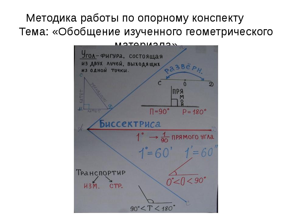 Методика работы по опорному конспекту Тема: «Обобщение изученного геометричес...