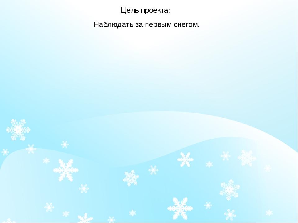 Цель проекта: Наблюдать за первым снегом.
