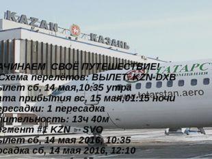 НАЧИНАЕМ СВОЁ ПУТЕШЕСТВИЕ! 1)Схема перелётов: ВЫЛЕТ. KZN-DXB Вылет сб, 14 мая