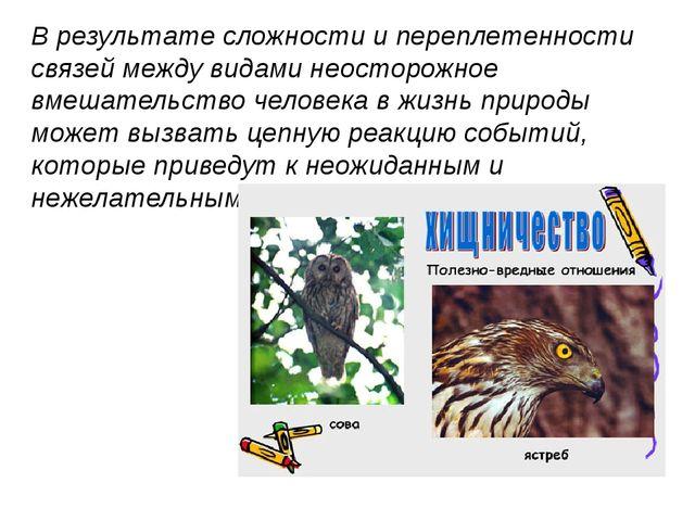В результате сложности и переплетенности связей между видами неосторожное вме...