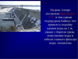 На реке Ангаре построили Иркутскую ГЭС и тем самым подпрудили Байкал, что при
