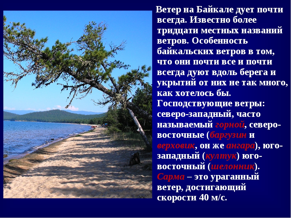 Ветер на Байкале дует почти всегда. Известно более тридцати местных названий...