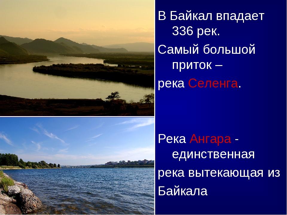 В Байкал впадает 336 рек. Самый большой приток – река Селенга. Река Ангара -...