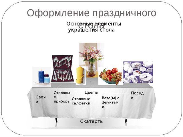 Оформление праздничного стола  Основные элементы украшения стола Скатерть Ст...