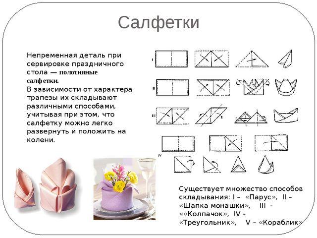 Салфетки Непременная деталь при сервировке праздничного стола —полотняные са...