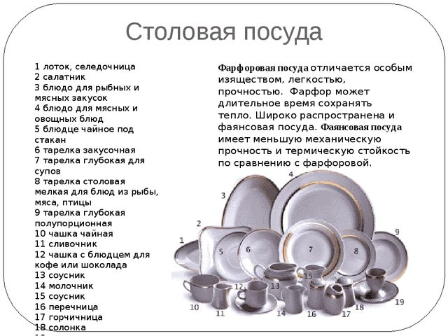 Столовая посуда 1 лоток, селедочница 2 салатник 3 блюдо для рыбных и мясных з...