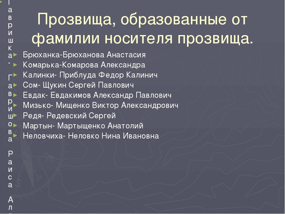 Прозвища, образованные от фамилии носителя прозвища. Брюханка-Брюханова Анаст...