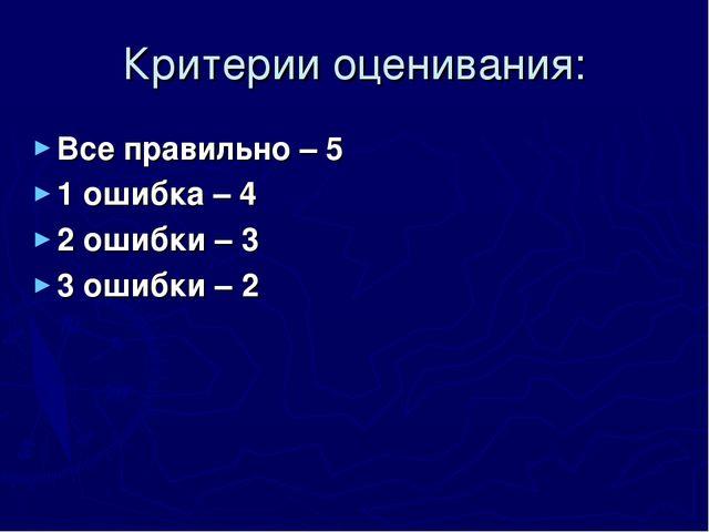 Критерии оценивания: Все правильно – 5 1 ошибка – 4 2 ошибки – 3 3 ошибки – 2
