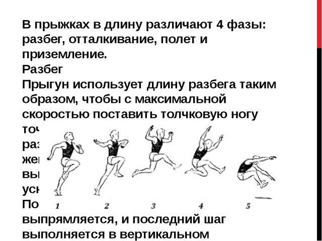 В прыжках в длину различают 4 фазы: разбег, отталкивание, полет и приземление...