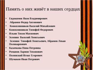 Память о них живёт в наших сердцах Евдокимов Яков Владимирович Абрамов Федор