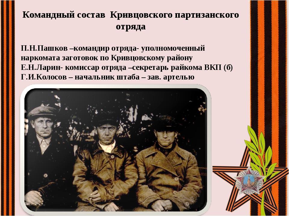 Командный состав Кривцовского партизанского отряда П.Н.Пашков –командир отряд...