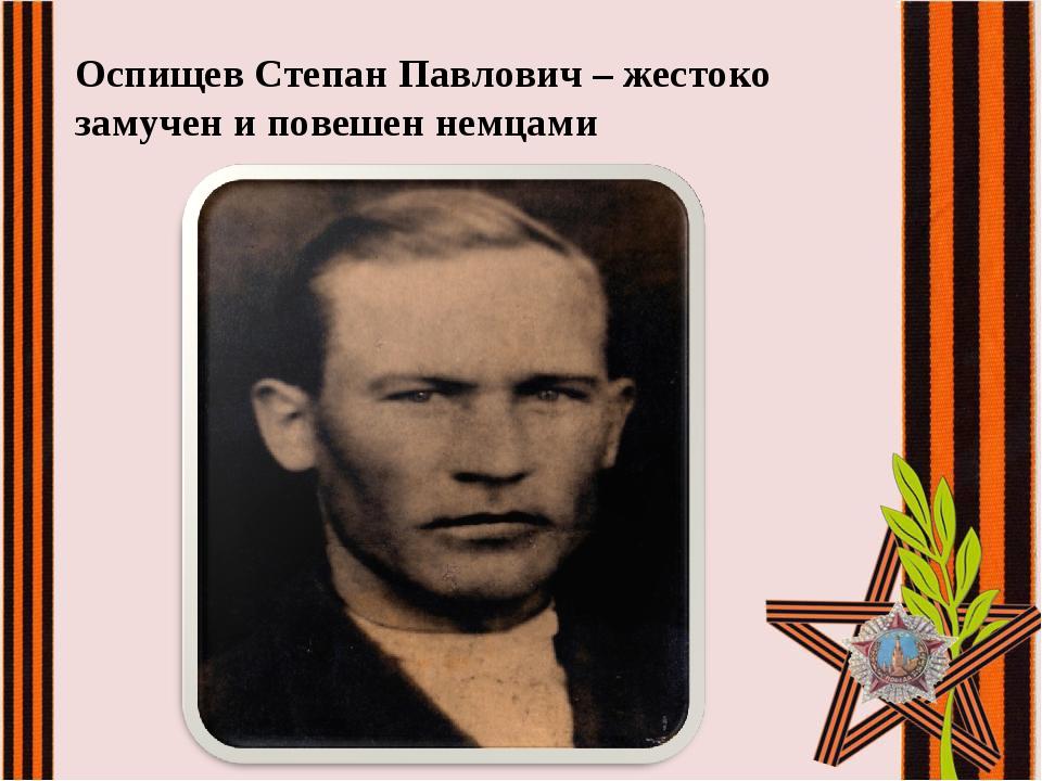 Оспищев Степан Павлович – жестоко замучен и повешен немцами