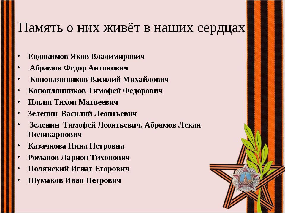 Память о них живёт в наших сердцах Евдокимов Яков Владимирович Абрамов Федор...