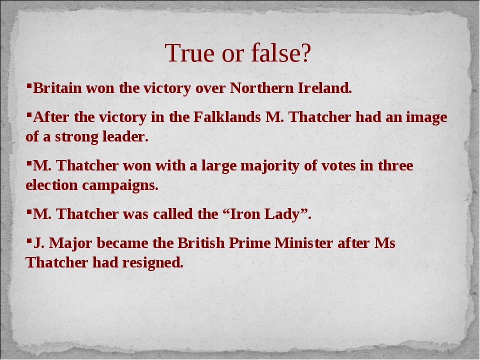 True or false? Britain won the victory over Northern Ireland. After the victo...