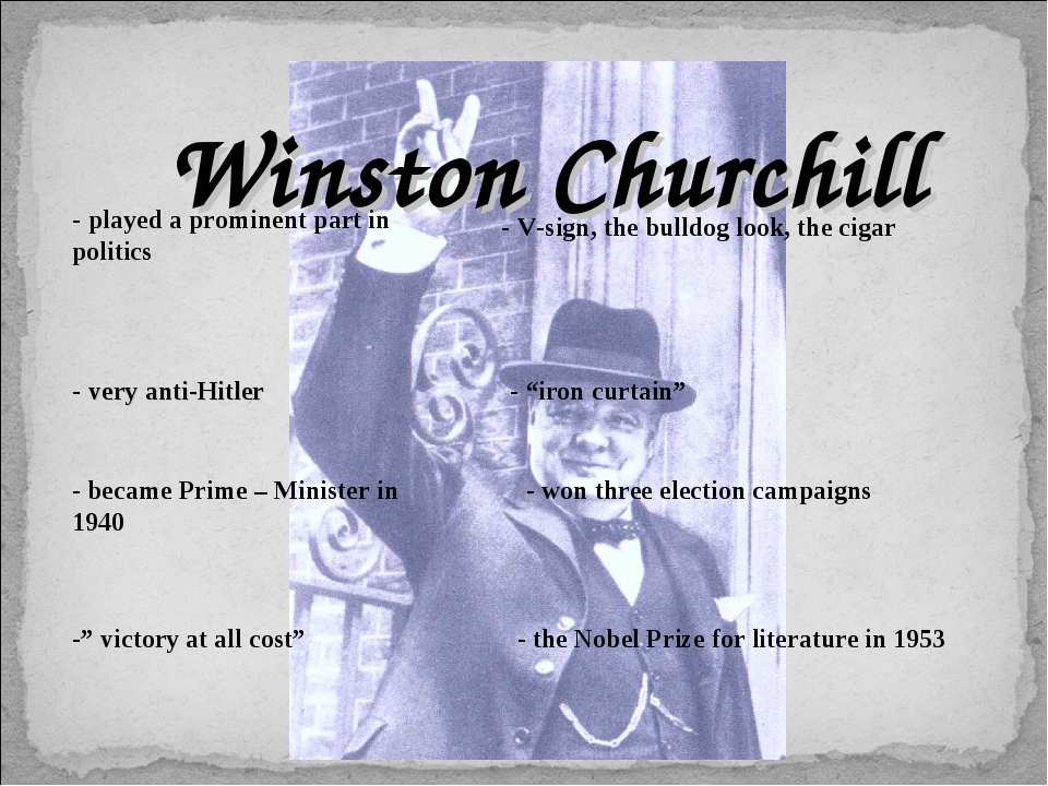 Winston Churchill - played a prominent part in politics - very anti-Hitler -...