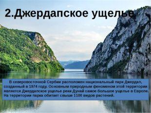 В северовосточной Сербии расположен национальный парк Джердап, созданный в 1