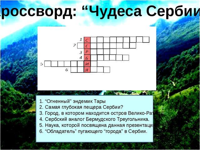 """1. """"Огненный"""" эндемик Тары 2. Самая глубокая пещера Сербии? 3. Город, в кото..."""