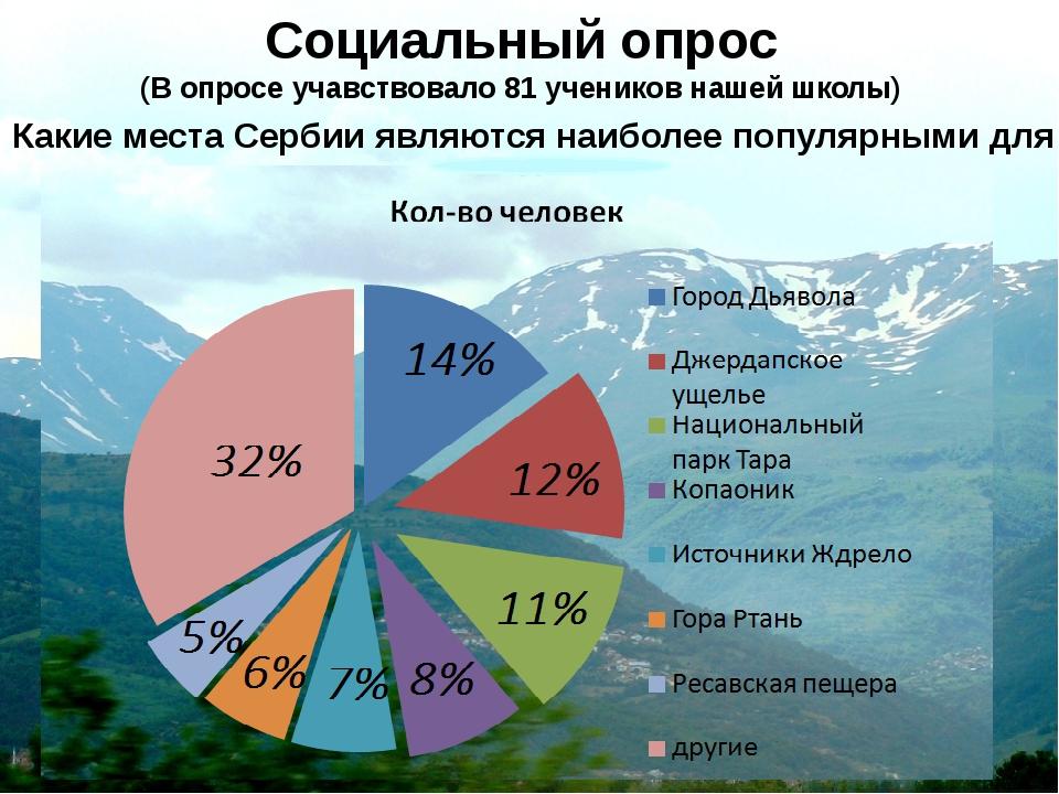 Социальный опрос (В опросе учавствовало 81 учеников нашей школы) Какие места...