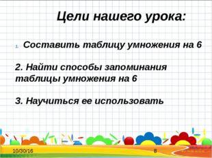 Цели нашего урока: Составить таблицу умножения на 6 2. Найти способы запомин