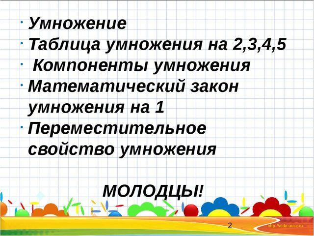Умножение Таблица умножения на 2,3,4,5 Компоненты умножения Математический з...